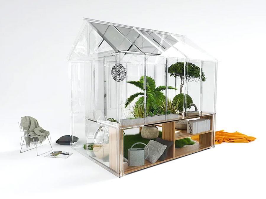 Modello di serra da giardino in vetro n.23