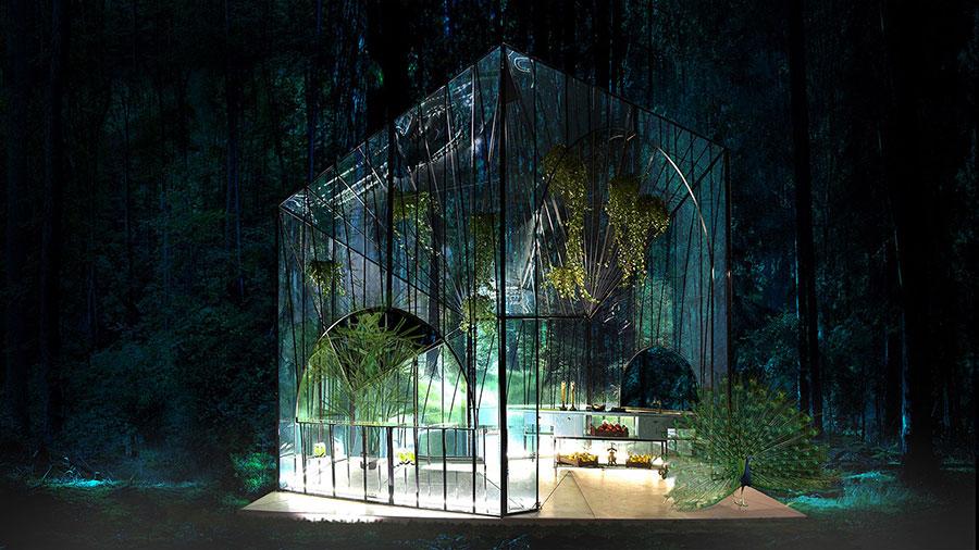 Modello di serra da giardino in vetro n.24