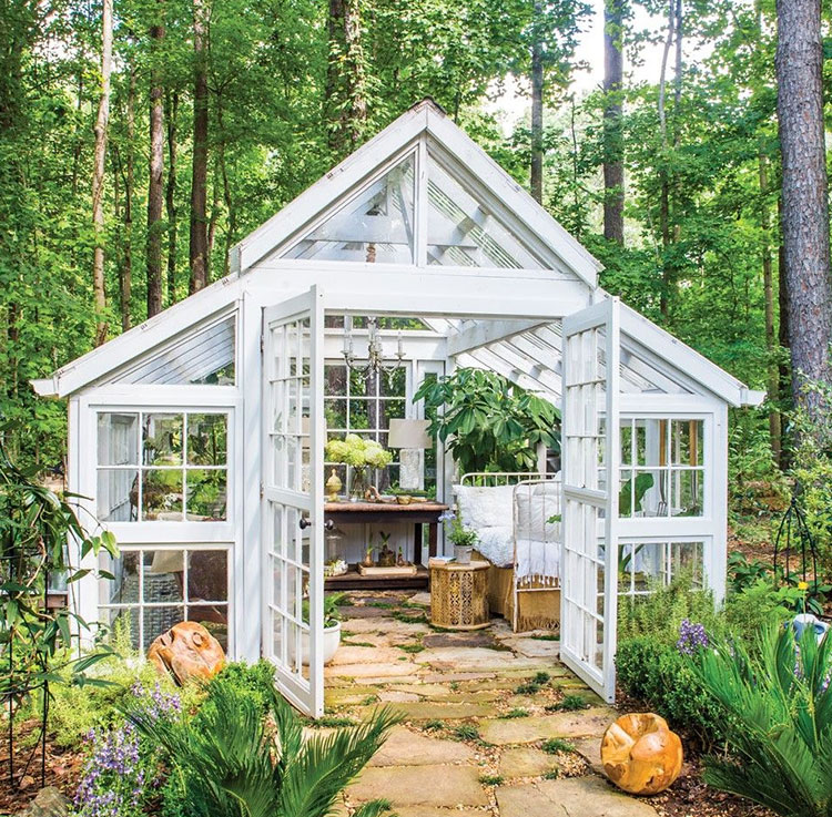 Modello di serra da giardino in vetro n.28