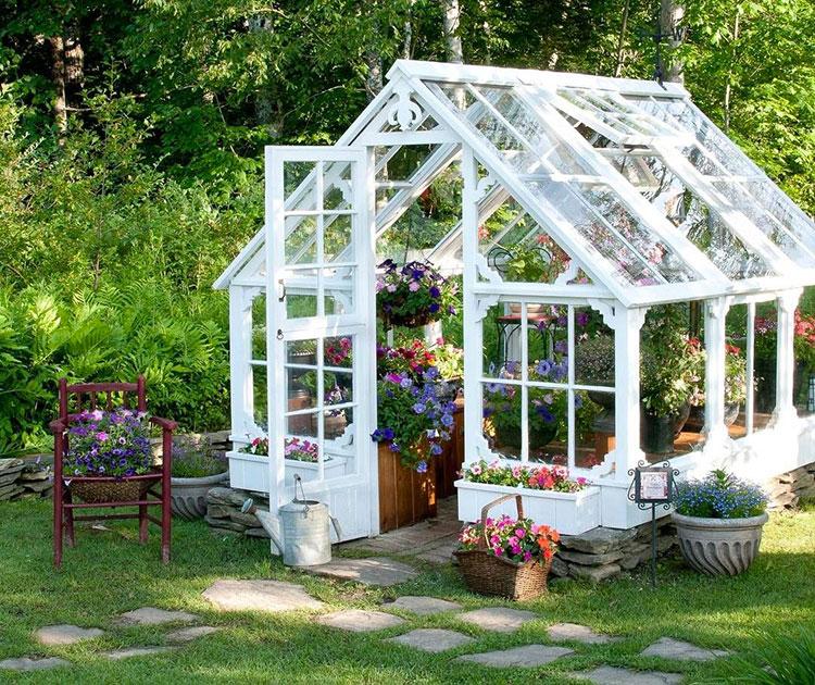 Modello di serra da giardino in vetro n.29