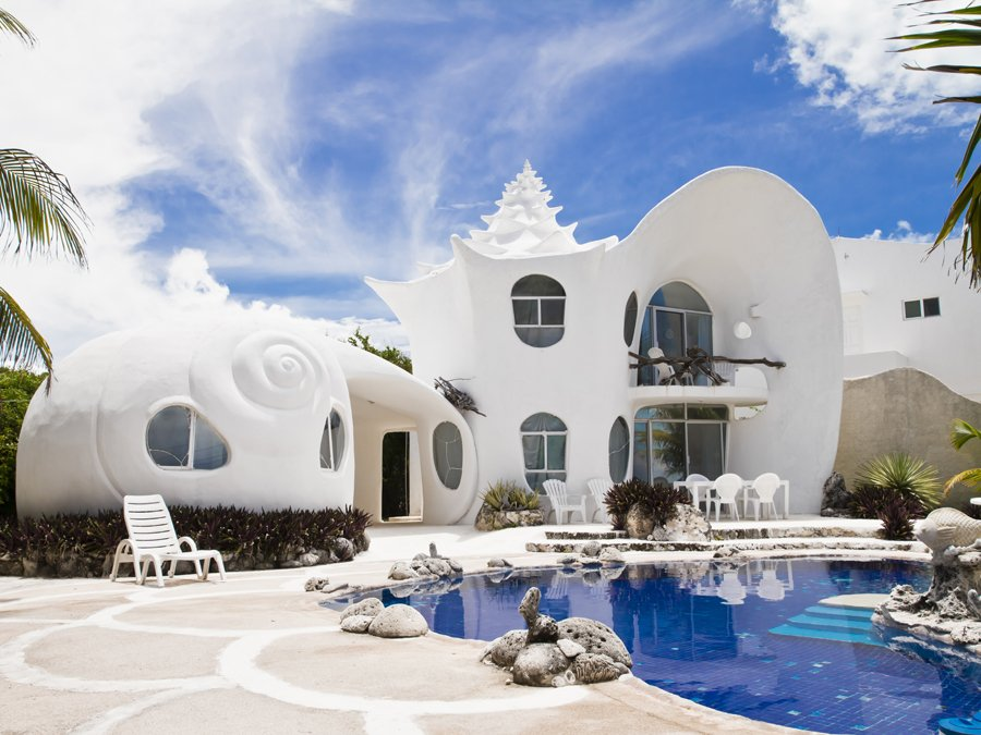 Foto della casa a forma di conchiglia in Messico