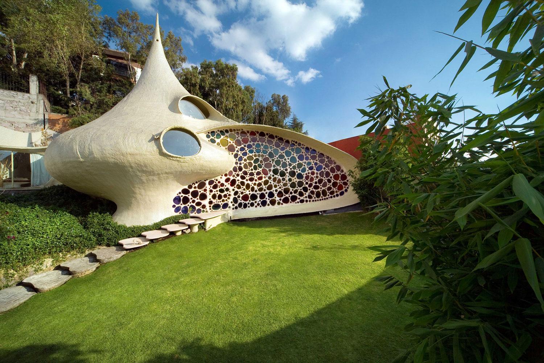 Foto della casa a forma di nautilus in Messico
