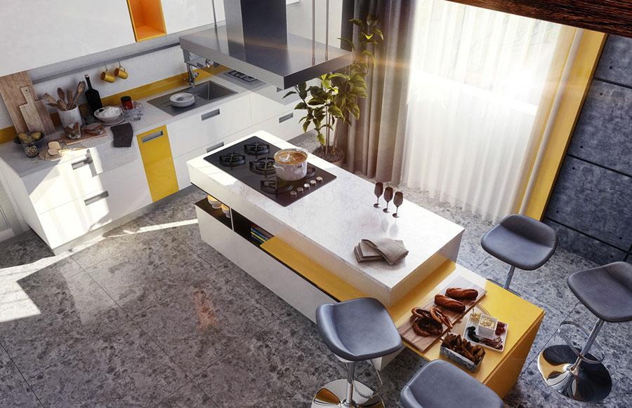 Modello di cucina moderna con isola centrale n.01
