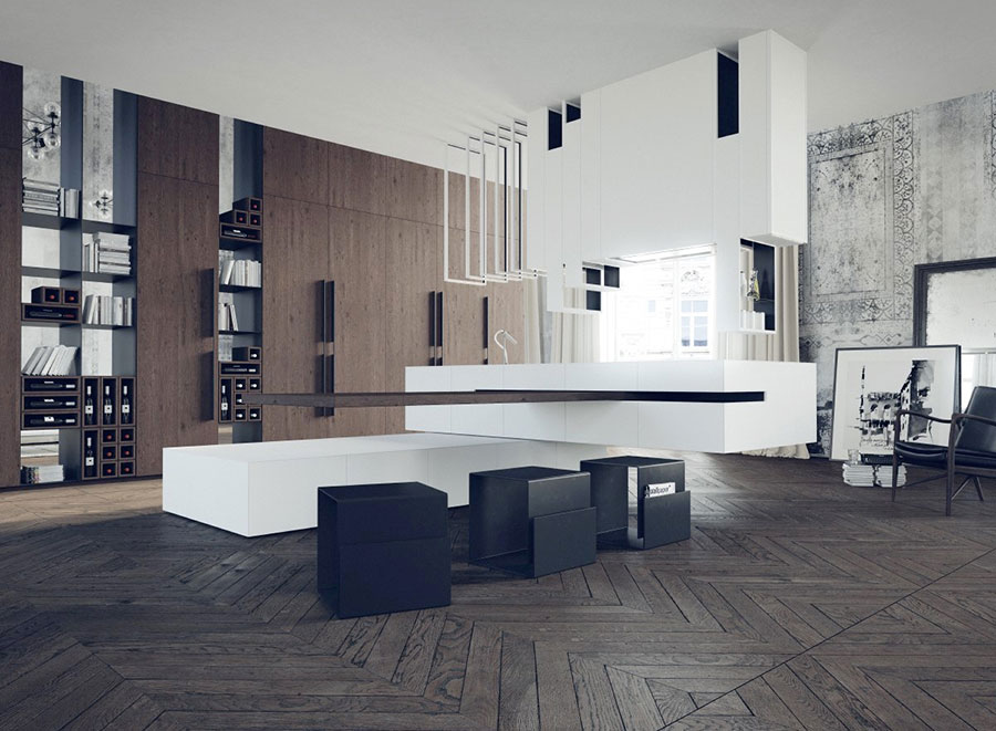 Modello di cucina moderna con isola centrale n.02