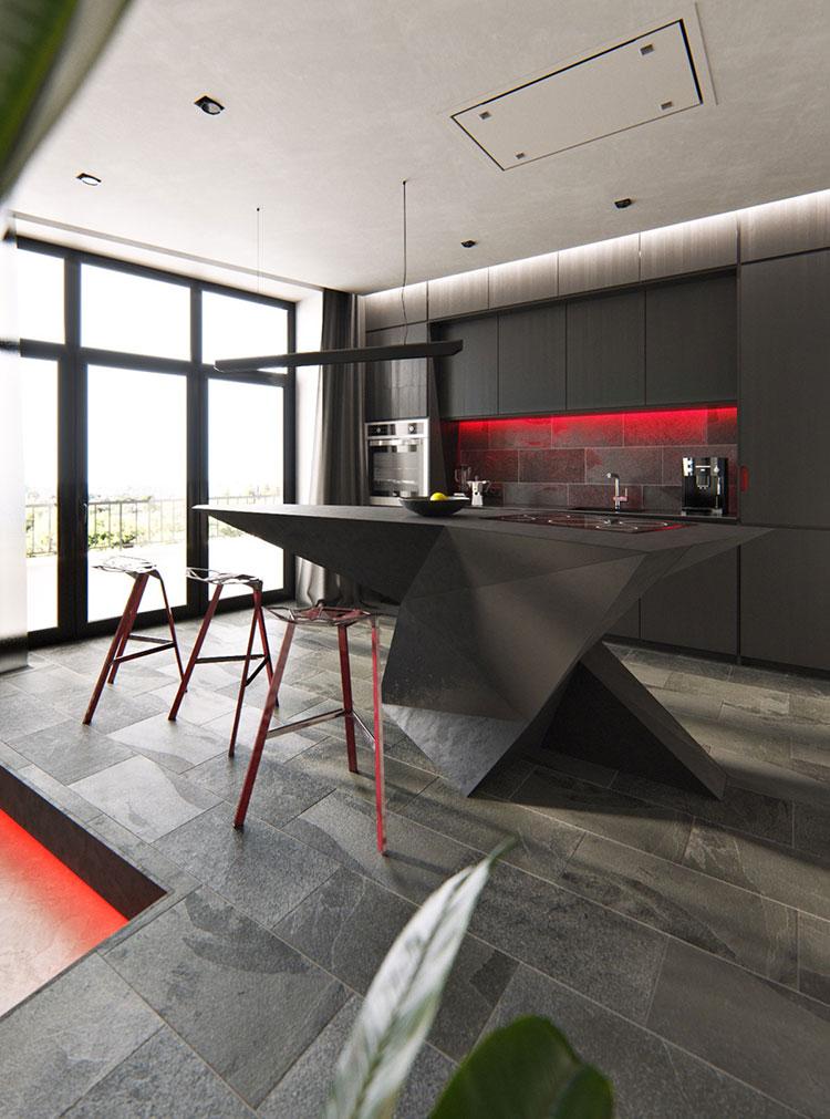 Modello di cucina moderna con isola centrale n.06