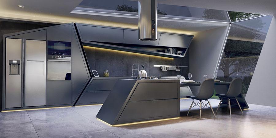 Modello di cucina moderna con isola centrale n.07