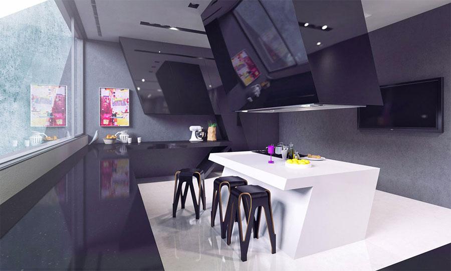 Modello di cucina moderna con isola centrale n.12