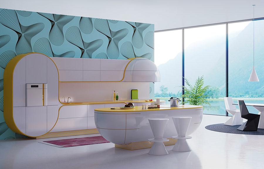 Modello di cucina moderna con isola centrale n.14