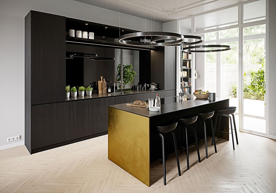 Modello di cucina moderna con isola centrale n.24