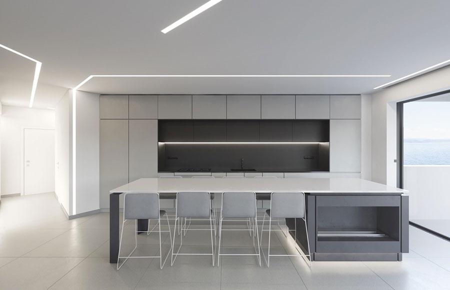 Modello di cucina moderna con isola centrale n.27