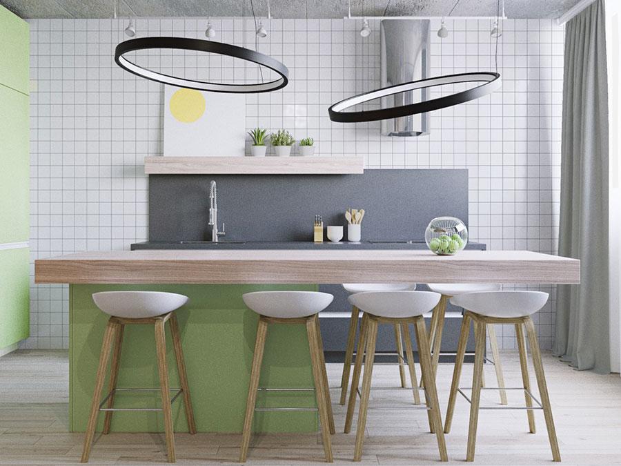 Modello di cucina moderna con isola centrale n.29