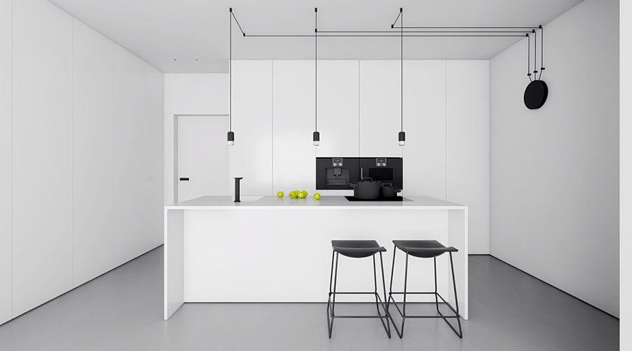 Pareti bianche per cucine moderne 01