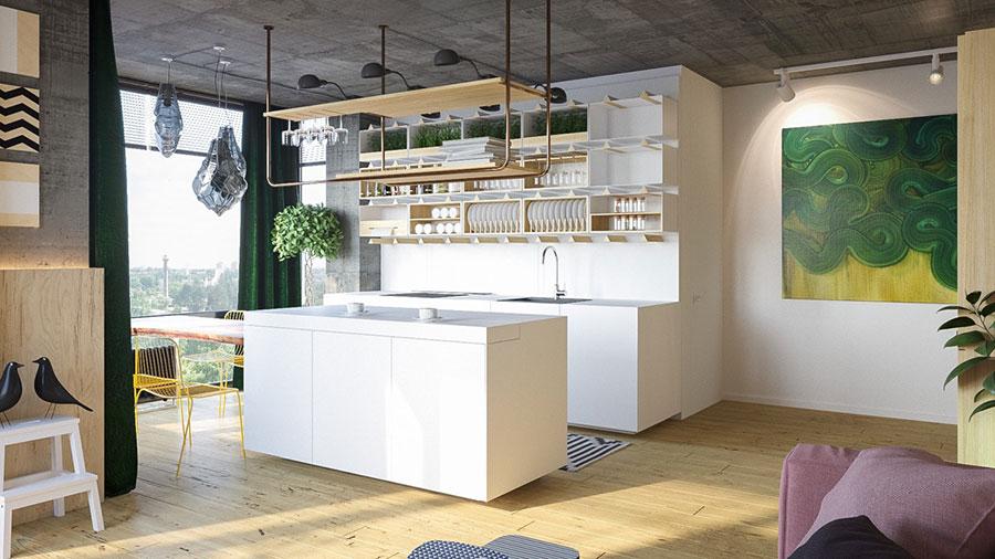 Modello di cucina moderna con isola centrale n.38