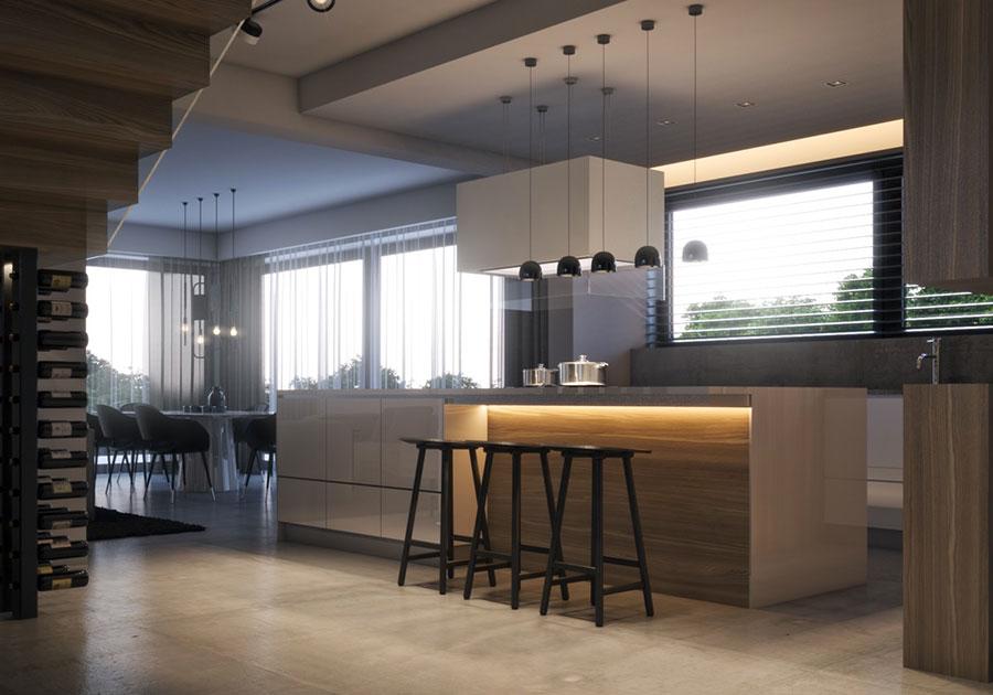 Modello di cucina moderna con isola centrale n.46