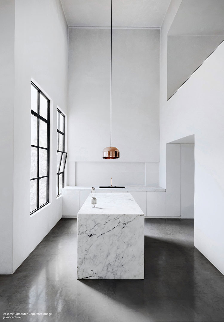 Modello di cucina moderna con isola centrale n.47