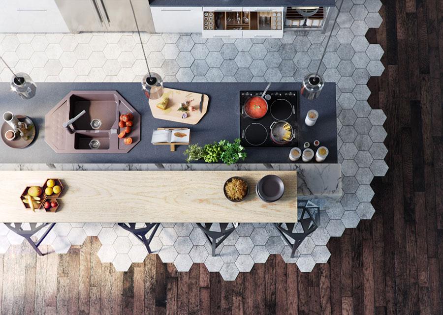Modello di cucina moderna con isola centrale n.49