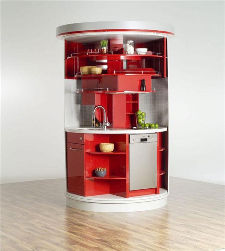 Cucina a scomparsa circolare aperta