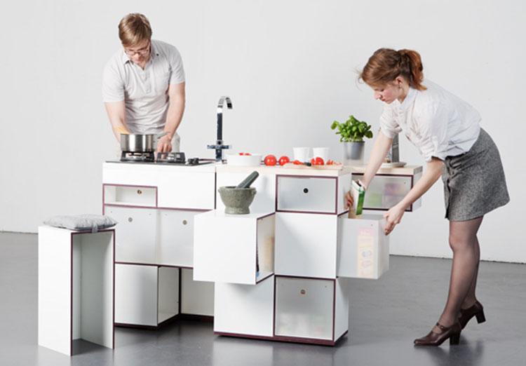 Cucina a scomparsa Carrè aperta