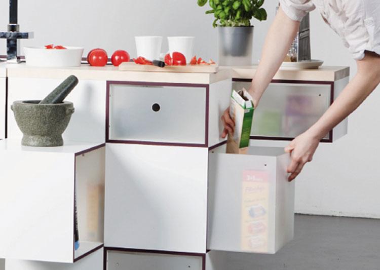 Organizzazione degli spazi nella cucina a scomparsa modello Carré