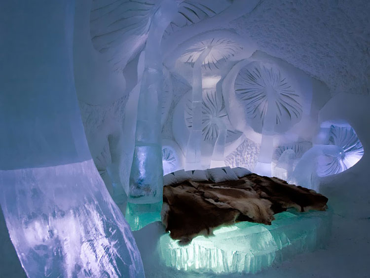 Foto di una camera dell'Ice Hotel in Svezia