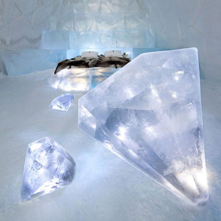 Particolare della camere dell'Ice Hotel in Svezia