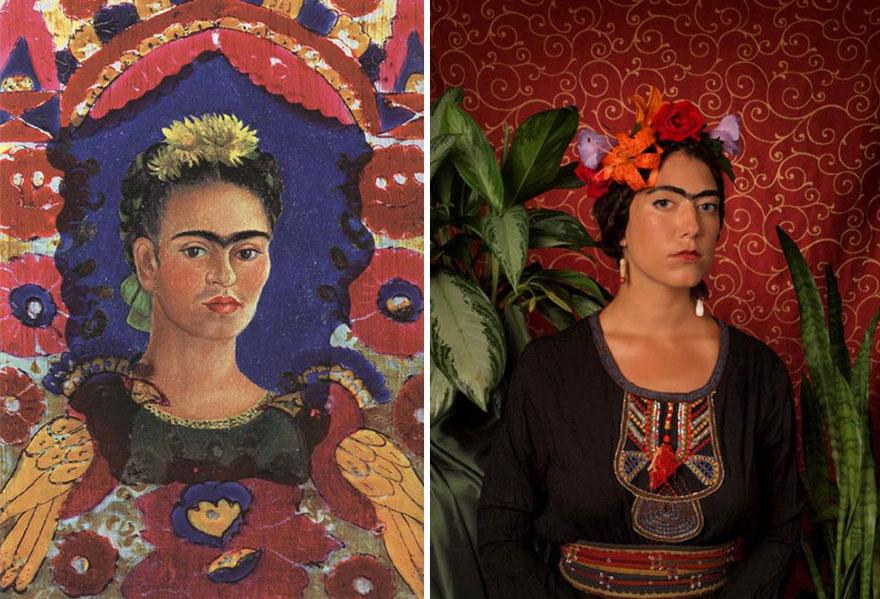 Divertente remake del dipinto Autoritratto di Frida Kahlo