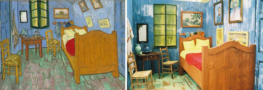 Divertente remake del dipinto Camera da letto di Vincent van Gogh