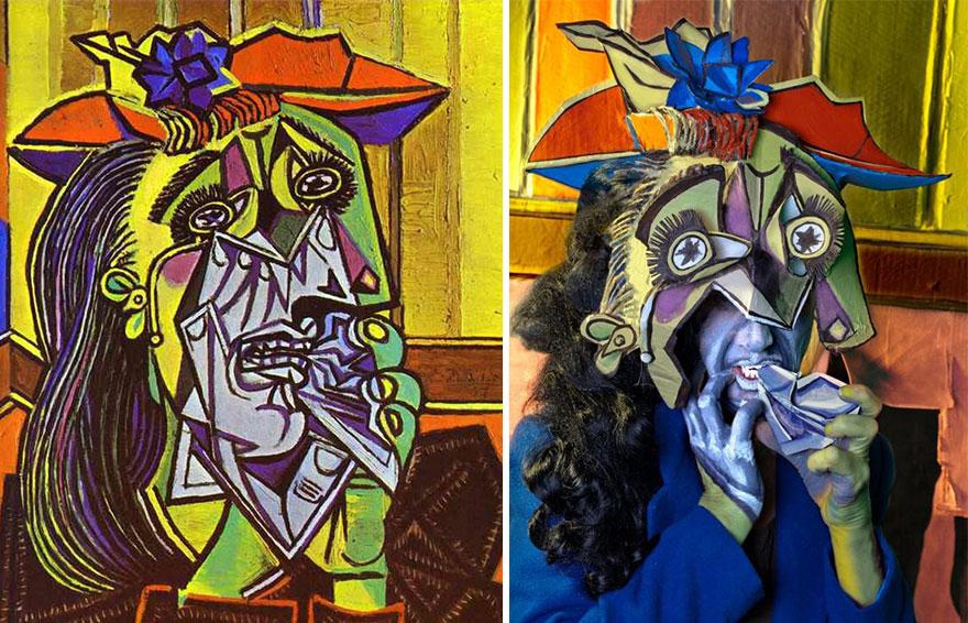 Divertente remake del dipinto Donna che Piange di Pablo Picasso