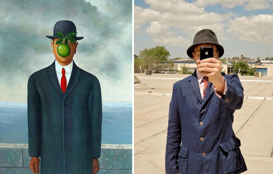 Divertente remake del dipinto Il Figlio Dell'Uomo di Magritte