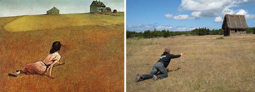 Remake del dipinto Il Mondo di Christina di Andrew Wyeth