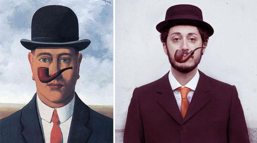 "Divertente remake del dipinto ""La Bonne Foi"" di Magritte"