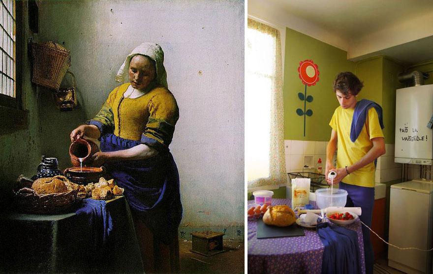 Divertente remake del dipinto Lattaia di Johannes Vermeer