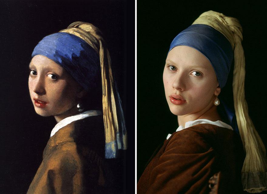 Remake del dipiinto Ragazza col Turbante di Johannes Vermeer