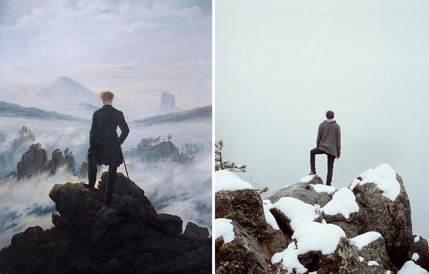 """Divertente remake del dipinto Viandante sul Mare di Nebbia"""" di Friedrich"""