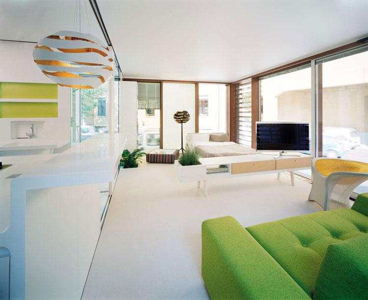 Foto del salotto della casa prefabbricata LoftCube