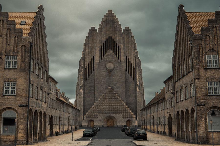 Foto della chiesa di Grundtvig a Copenaghen