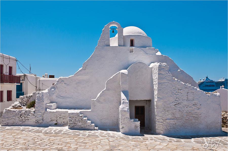 Foto della chiesa di Panagia Paraportiani a Mykonos