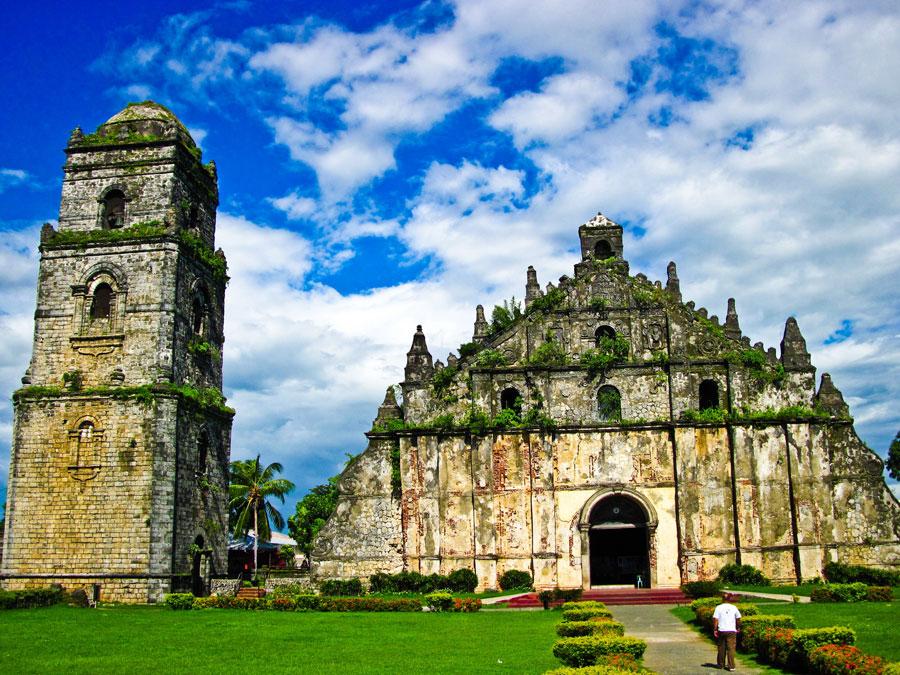 Foto della chiesa di Paoay nelle Filippine