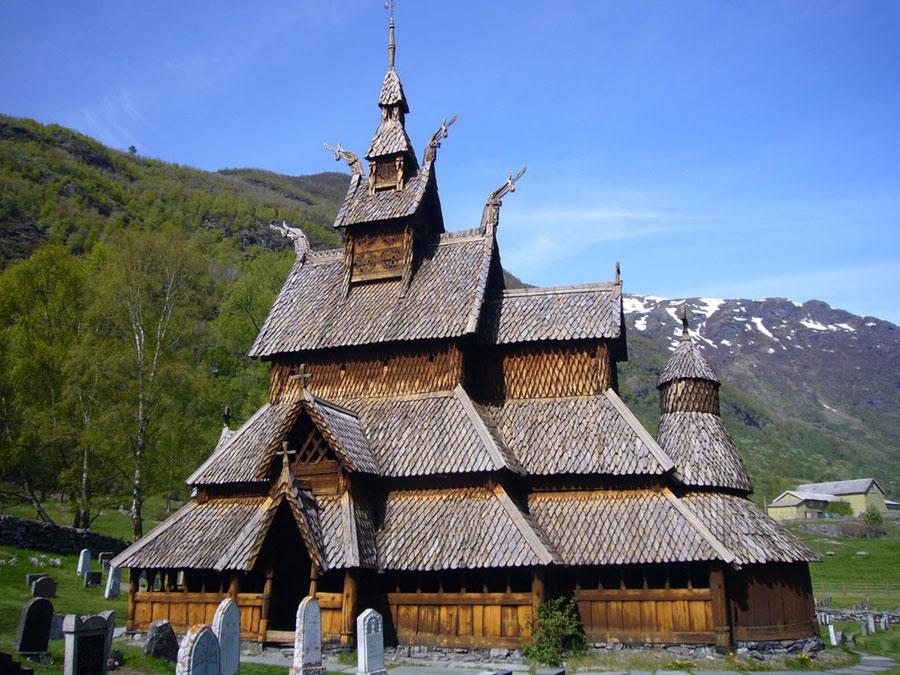 Foto della chiesa di Stavkirke Borgund in Norvegia