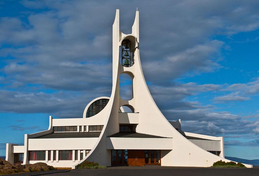 Foto della chiesa di Stykkisholmskirkja in Islanda