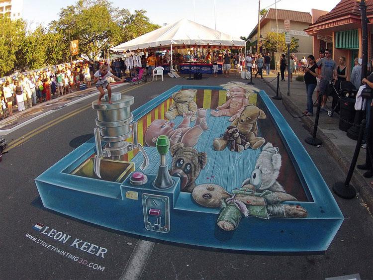 Disegno 3D su strada di Leon Keer n.03