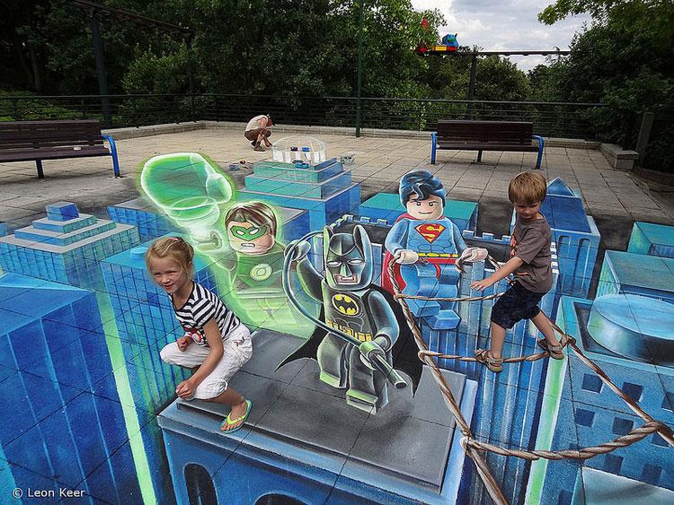 Disegno 3D su strada di Leon Keer n.06
