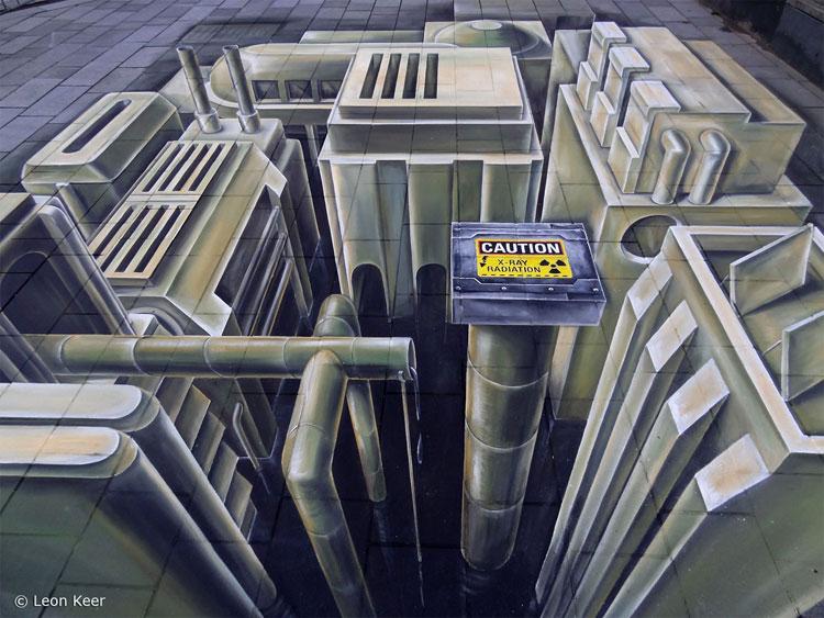 Disegno 3D su strada di Leon Keer n.08
