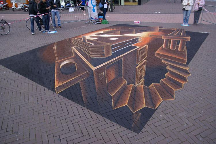 Disegno 3D su strada di Leon Keer n.15