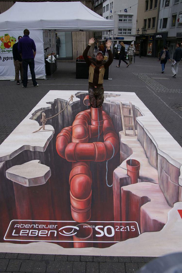 Disegno 3D su strada di Leon Keer n.17