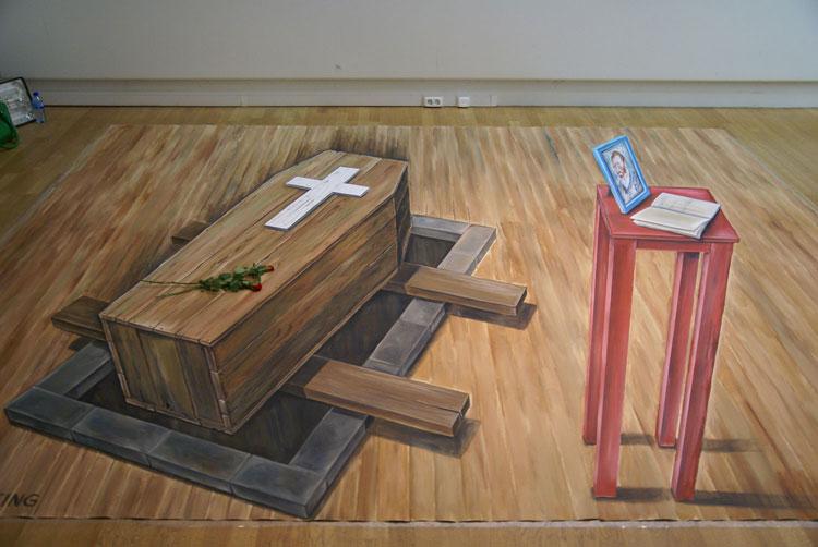 Disegno 3D su strada di Leon Keer n.19