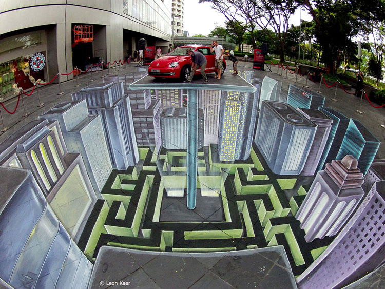 Disegno 3D su strada di Leon Keer n.22