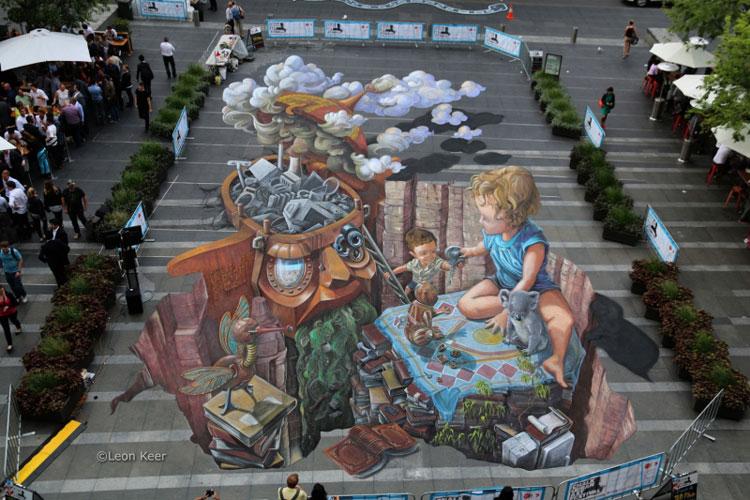 Disegno 3D su strada di Leon Keer n.24