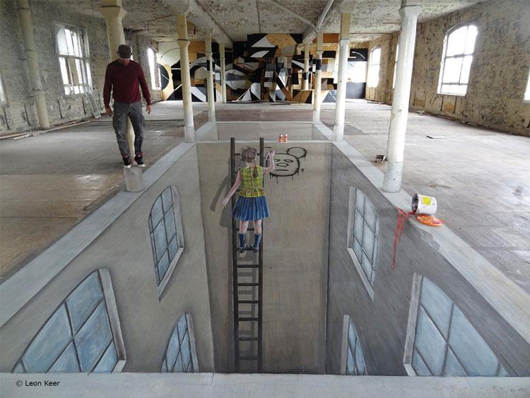 Disegno 3D su strada di Leon Keer n.30