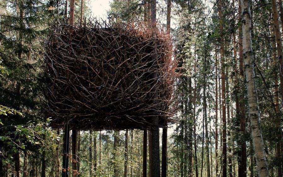 Camera con rami al Treehotel in Svezia